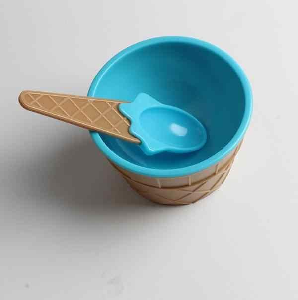6/12 zestaw piękne dzieci pucharki do lodów kubek do lodów miska dla pary deser miska do lodów z łyżeczką sztućce dla dzieci Bol # d