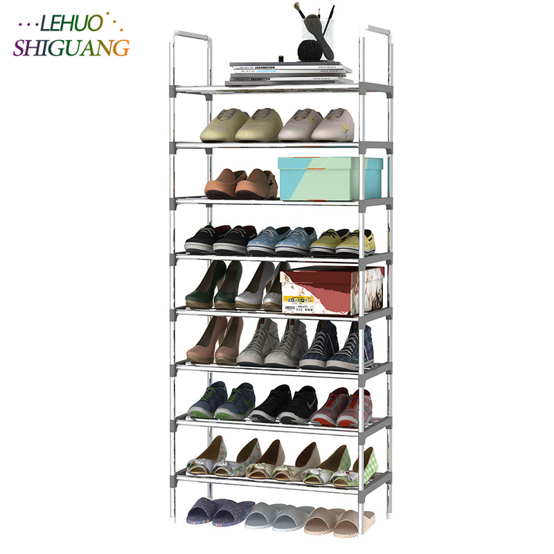 9 Layers Shoe Rack with handrail Galvanized steel pipe shoe cabinet shoe organizer removable shoe storage for home furniture