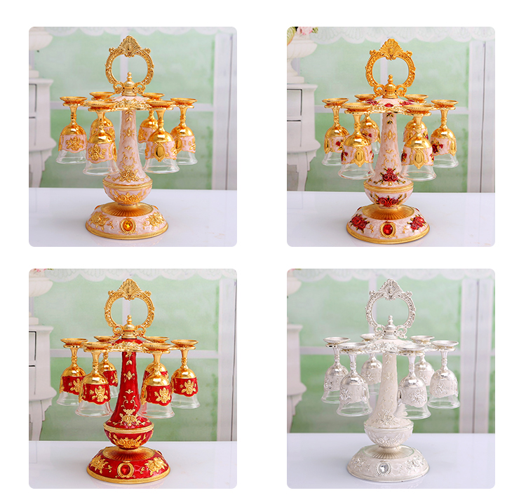 European Russian Luxury Metal Glass Sherbet Rack Holder Sherbet Cup Fashion Exquisit Castle Pattern Tableware Nice Gifts Home Decor