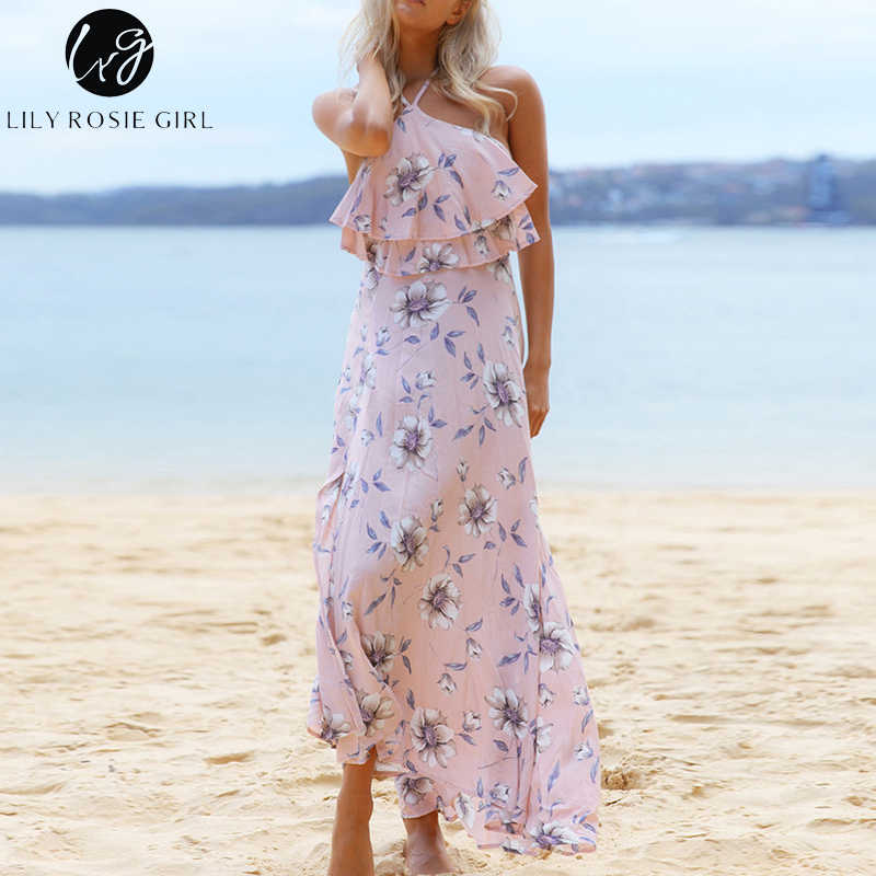 Conmoto Girl Off Shoulder Pink Floral Print Halter Ruffles Dress Women Summer Beach Sexy Boho Maxi Long Strap Dresses Vestido