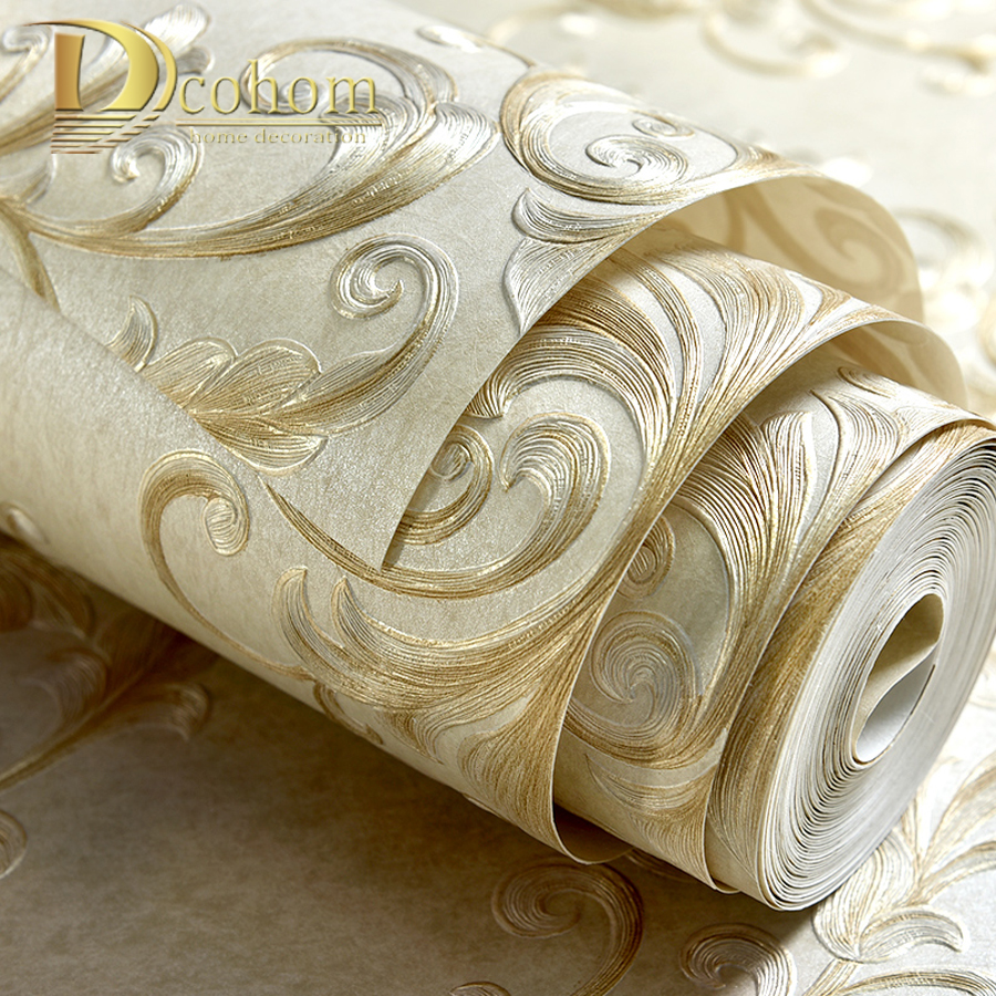 European Luxury Beige Damask 3D Wallpaper For Walls Bedroom Living Room Sofa TV Background Decor Embossed Home Wall Paper Rolls beibehang wall paper home decor luxury high end 3d european tv background wallpaper bedroom living room sofa 3d wallpaper roll