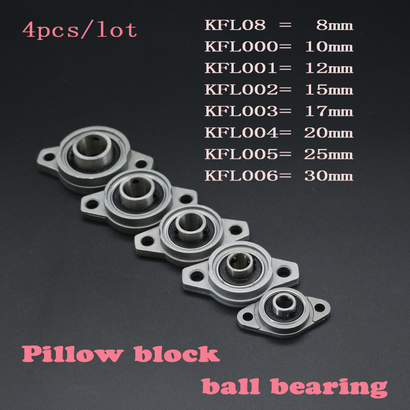 4pcs/lot Zinc Alloy Diameter 8mm to 30mm Bore Ball Bearing Pillow Block Mounted Support KFL08 KFL000 KFL001 KFL002 KFL003 KFL0044pcs/lot Zinc Alloy Diameter 8mm to 30mm Bore Ball Bearing Pillow Block Mounted Support KFL08 KFL000 KFL001 KFL002 KFL003 KFL004