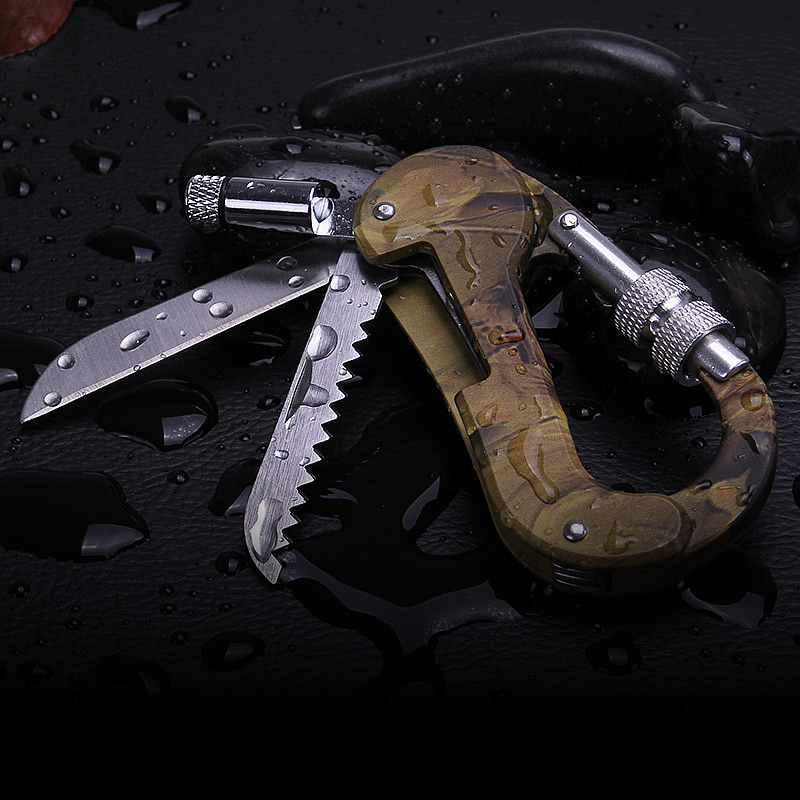 Multifunctional Camping Folding Knife Carabiners Survival Knife Multi-function Outdoor Mountain Climbing Buckle Furniture straight knife army knife survival folding knife sword mountain cutter tool camping military knife