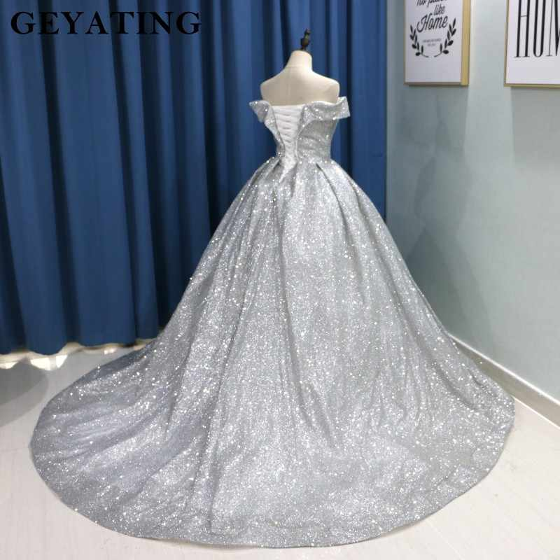a36cc4454d1 ... Sparkly Glitter Ball Gown Prom Dresses 2019 Luxury V Neck Long Train  Party Gowns Corset Back ...