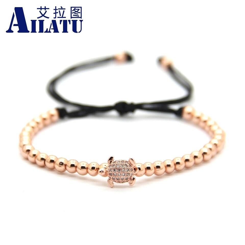 Ailatu High Grade Animal Style Jewelry 4mm Brass Beads Micro Pave CZ Tortoise Charm Braiding Macrame Bracelet Animal Shape