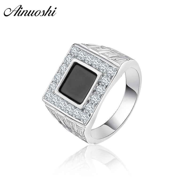 Ainoushi Fashion 925 Sterling Silver Men Wedding Engagement Ring