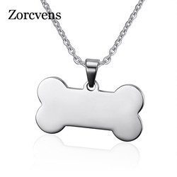 ZORCVENS Bone Shaped Pendant Necklace Stainless Steel Dog Tag Necklace Dotes On Pet Love Jewelry