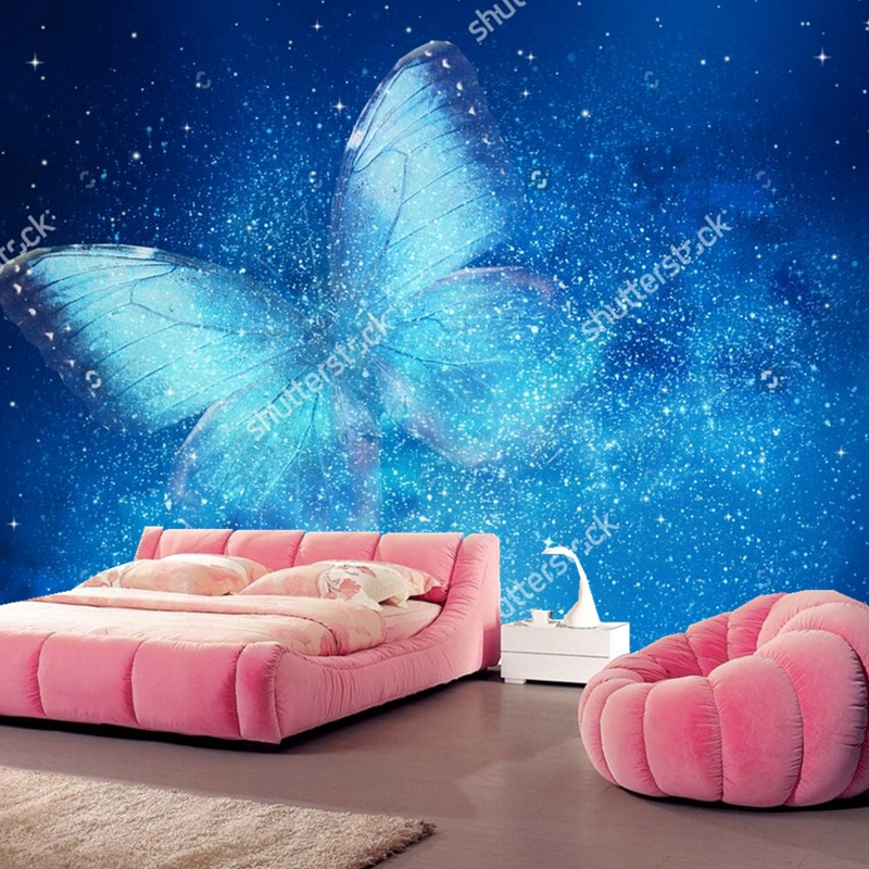 Universe  wallpaper, stars and butterfly,3D modern landscape for bedroom living room hotel ceiling background silk wallpaper blue sky and white clouds ceiling murals wallpaper living room bedroom hotel 3d ceiling wallpaper background