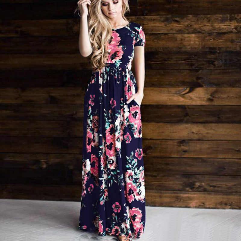 a49ad39ead5d7 SHIBEVER женское летнее платье с принтом винтажное Вечерние вечернее  длинное платье Boho в пол Плюс Размер