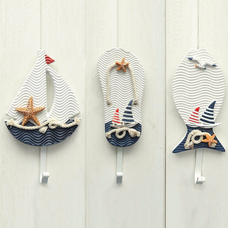 New Wall Hooks Mediterranean Style Anchors Fish Slipper Boat Shaped Living Room Hanging Decoration <font><b>Nautical</b></font> <font><b>Decor</b></font>