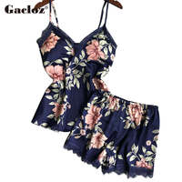 Gacloz Pajama Set Women Sexy Silk Sleepwear Floral Printed Nightwear Sleep Lounge Nightgowns
