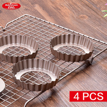 4pcs/Lot Bakerdream 3.6 Inch Carbon Steel Tart Pan Nonstick Tart Tin with Removable Base Quiche Pan Cake Mold Round Pie Pan