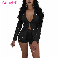Adogirl Pearls Accent Women Office Business Suits with Shorts Slim Full Sleeve Cardigan Blazer Coat Two