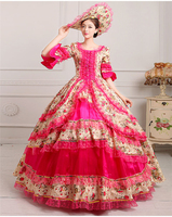 Royal Court Medieval Dress Queen Renaissance Ball Gown Victorian Evening Dress Halloween Formal Event Cosplay Costume rose red