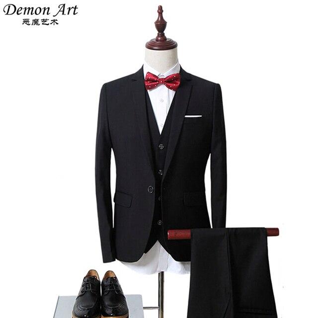3 UNIDS (chaqueta + Chaleco + Pantalones) marca Ropa de Hombre Formal Suit Blazer Slim Fit Chaqueta Vestido de Novia Chaqueta Veste Homme Mariage 6XL