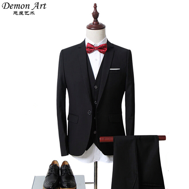 3PCS (Blazer + Vest + Pants) Brand Clothing Men Formal Blazer Suit Slim Fit Wedding Dress Blazer Jacket Veste Homme Mariage 6XL