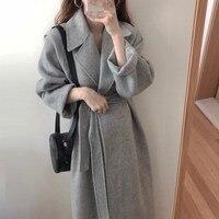 Slim Long Wool Blends Coat Women Winter Solid Warm Office Work Lady Coats Jacket Femme Elegant Coats