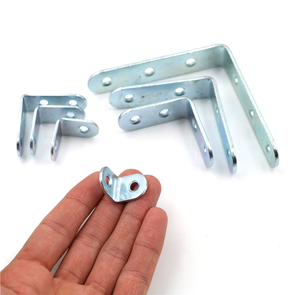 10pcs L Shape Stainless Steel Right Angle Bracket Corner Brace Joint Shelf Support 20 X 20 X 16mm -40 X 40 X 16mm
