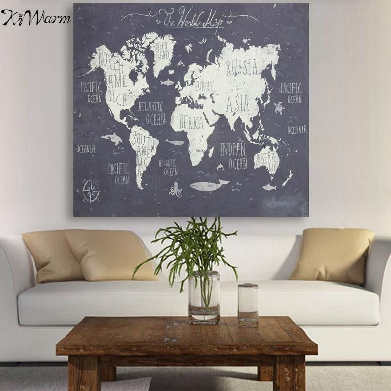 Kiwarm chaude vintage carte du monde polyester tissu mur for Acheteur maison du monde