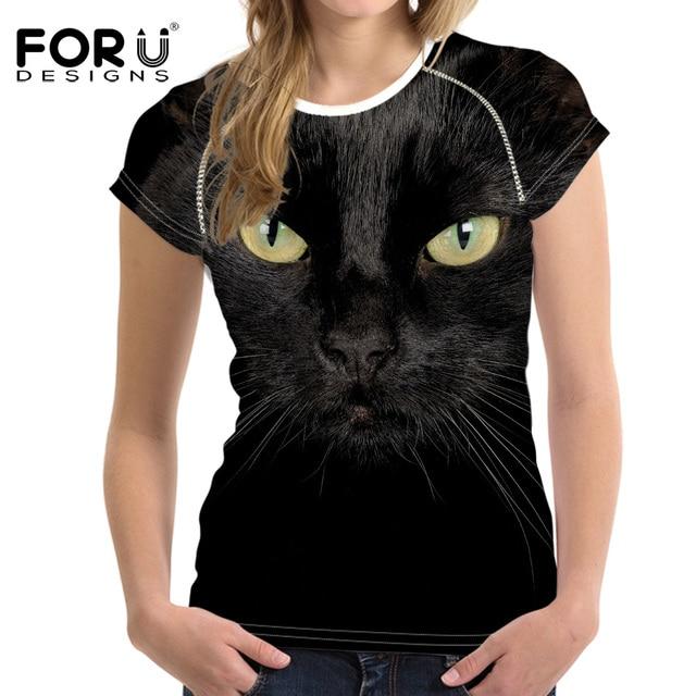 FORUDESIGNS 3D חתול שחור נקבה חולצות לנשים 2017 קיץ צמרות הדפסת טיז Tshirts האופנה נשים חולצה לא כלב Vetement Femme