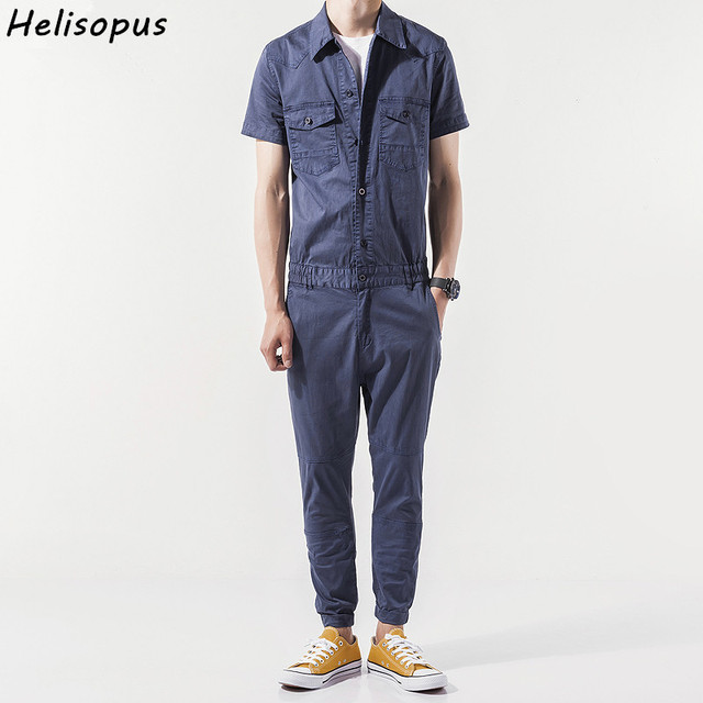3937a858f2d Helisopus Mens Short Sleeve Jumpsuits Cargo Work Long Pants Hip-hop Male One -Piece Slim Fit Overalls Rompers Asian Size