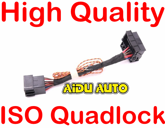ISO To Quadlock Canbus Adapter CABLE Harness Upgrade RCD330 RCD510 Conversion Cable FOR Polo Jetta Golf iso to quadlock canbus adapter cable harness upgrade rcd330 rcd510