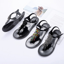 Summer New Beaded Tassel T-type With Pinch Solid Color Europe And America Casual Comfort Flat Sandals Women's Shoes Jelly Shoes bohemia shoes pinch sandals summer new beaded shoes page 1