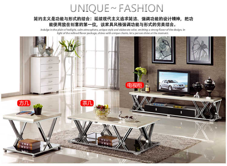 Gold Stainless Steel Tv Stand Modern Living Room Marble Coffee Table Led Monitor Corner Mueble Cabinet Mesa