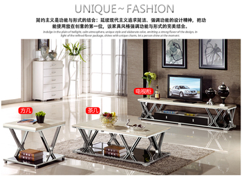 gold Stainless steel TV Stand modern Living Room marble coffee table + tv led monitor stand +corner table mueble tv cabinet mesa mueble computer painel para madeira soporte de pie european wodden living room furniture meuble monitor stand table tv cabinet
