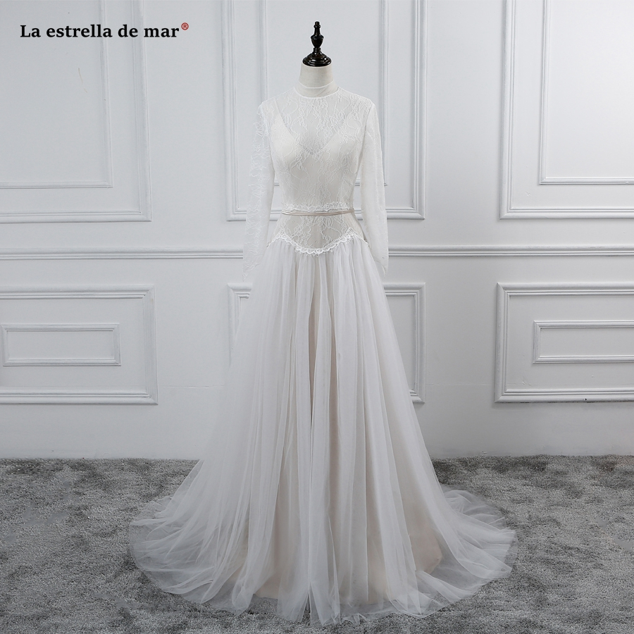 Champagne Color Wedding Dresses Vestidos De Noiva 2017: Vestido De Noiva 2017 Lace High Neck Long Sleeve Pretty