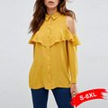 Autumn Solid Yellow Plus Size S 3Xl 6Xl Long Sleeve Off Shoulder Ruffles Chiffon Blouse Women Blusas Vintage Tops Shirts