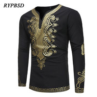 New Arrival 2018 Traditional Ethnic Harajuku African Clothes Print V Neck Gold Floral Long Sleeve Black