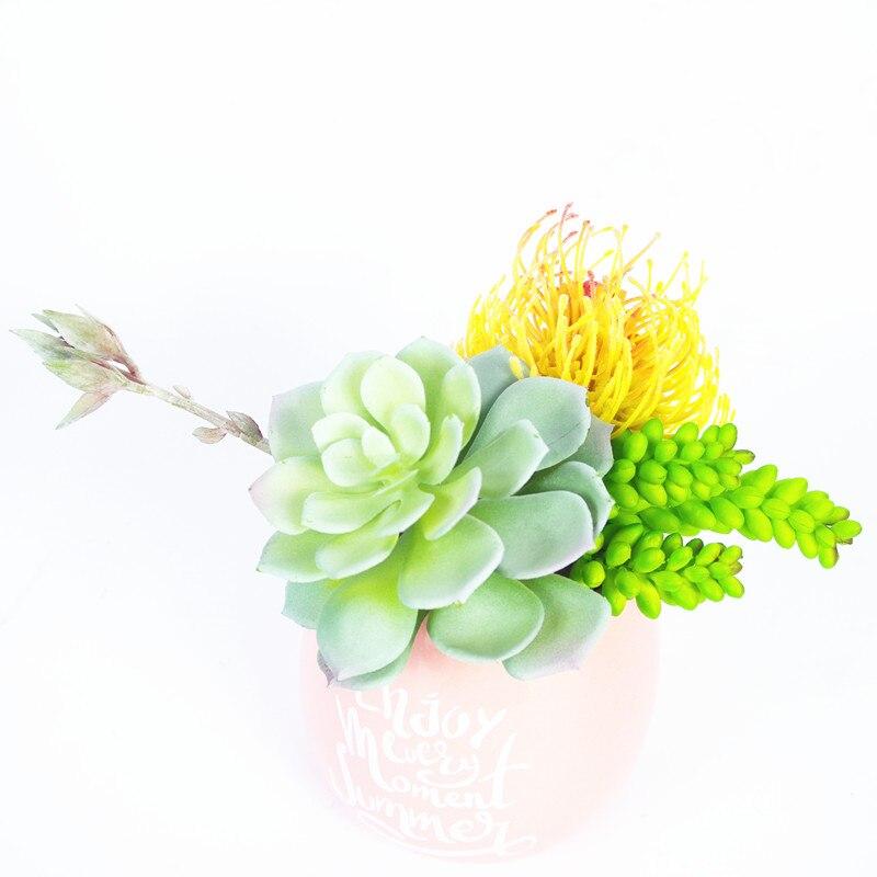 Indigo-echeveria Grus Kunstmatige Vetplant Plastic Bloem Tafel Decoratie Groene Plant Muur Achtergrond Gratis Verzending