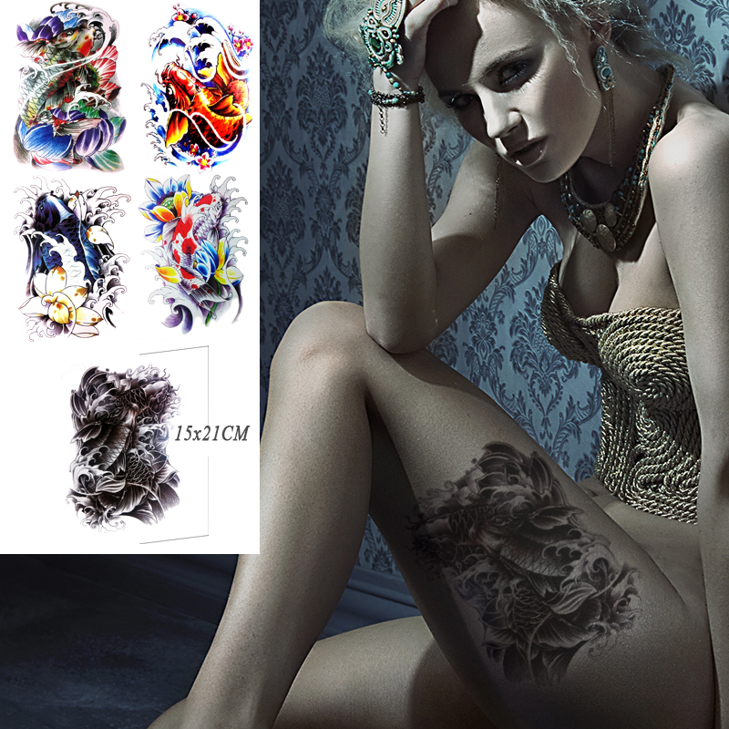 Online buy wholesale koi tattoo flash from china koi for Adult temporary tattoo