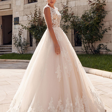 Loverxu Sexy Illusion Wedding Dresses 2019 Sweep Train