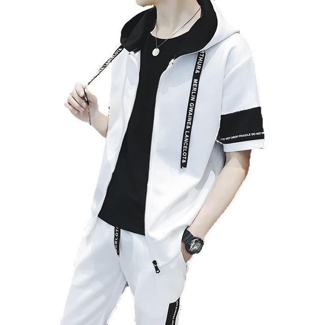 Amberheard Summer Fashion Men Sweatsuit Set Short Sleeve Sporting