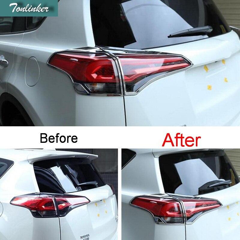 Tonlinker 4 pcs bricolage voiture style nouveau ABS chrome arrière phare lumière autocollant housse pour TOYOTA RAV4 2016 pièces accessoires