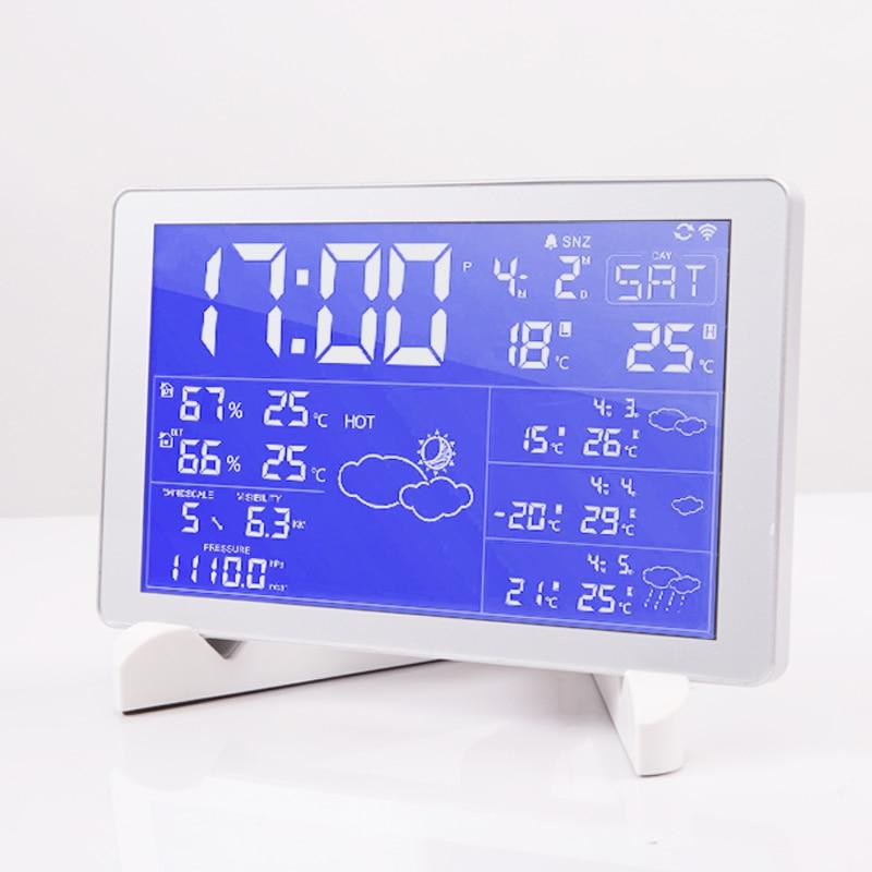 Wifi Premium LED snooze alarm clock with backlight calendar weather ...