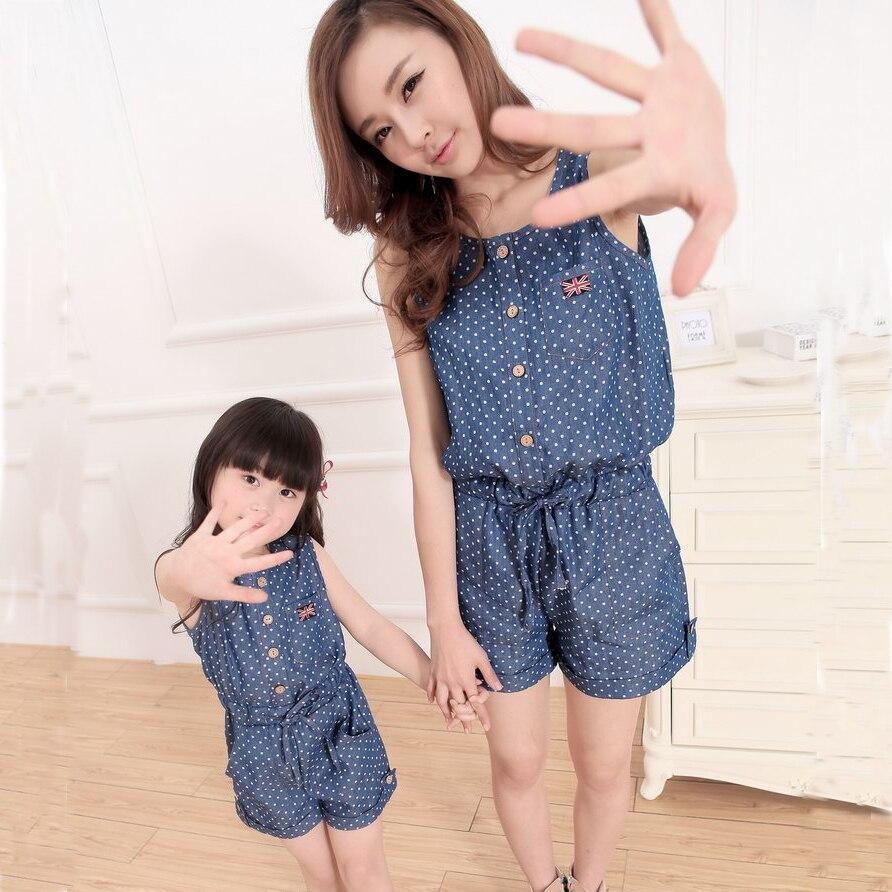 Authentique D'été Style Combinaisons Mère et Fille Vêtements Denim Jeans Combinaisons de Vêtements Pour Femmes et Enfants Vêtements Vêtements Pour La Famille