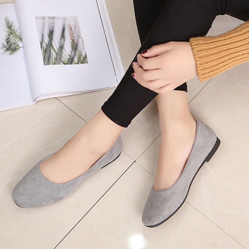 Suede     Leather   Ballet Flats Shoes Woman Solid Color on loafer Women Shallow Round Tow Spring Autumn Casual Shoes Women Flats