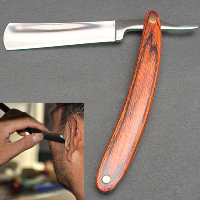 1pc New Straight Edge Stainless Steel Barber Razor Folding Shaving Knife Wood Handle Hot Selling FM1077