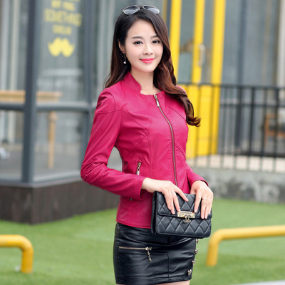Bust size 112 cm leather clothing female short design slim women's leather jacket stand collar sheepskin leather coat 4