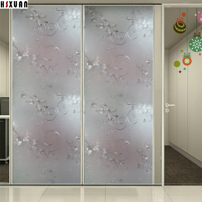 92x100cm 3D flower window privacy film frosted Waterproof glass stickers on the window Hsxuan brand 920621