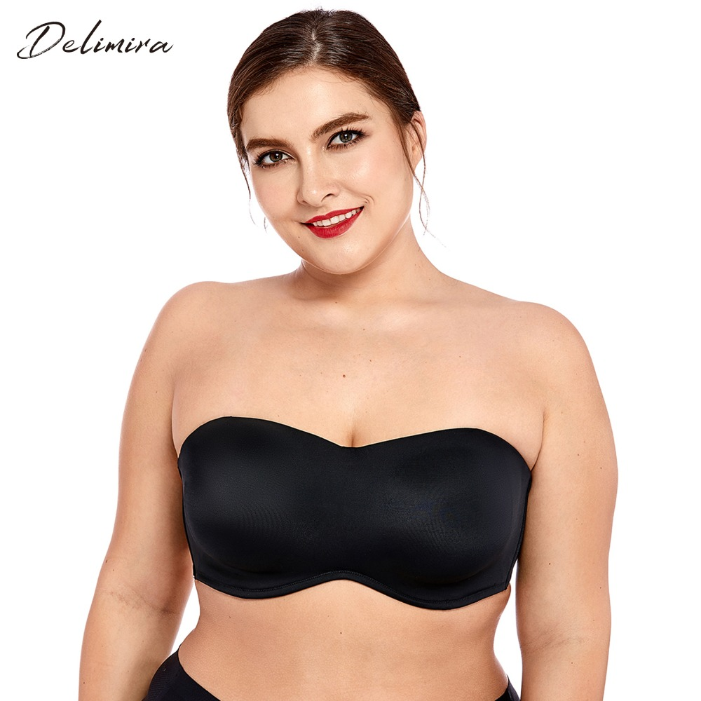 Delimira Women's Full Coverage Smooth Seamless Invisible Underwire Minimizer Strapless Bra Plus Size(China)