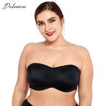 Delimira damskie pełne pokrycie gładkie bezszwowe niewidoczne fiszbiny Minimizer biustonosz bez ramiączek Plus rozmiar