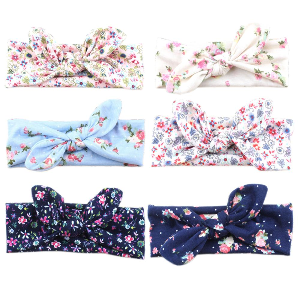 1PC Unisex Cute Girls Boys Flower Turban Rabbit Ear Cotton Spring Headband Bowknot Hairband Head Wrap Hair Band Accessories 1 pc women fashion elastic stretch plain rabbit bow style hair band headband turban hairband hair accessories