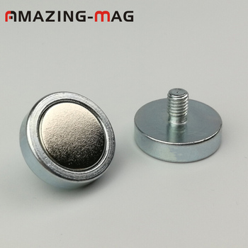20pcs D20mm Powerful Neodymium Strong Magnet pot with M5*7mm External Thread Led Panel Miniature Fixture Magnetic Material Base