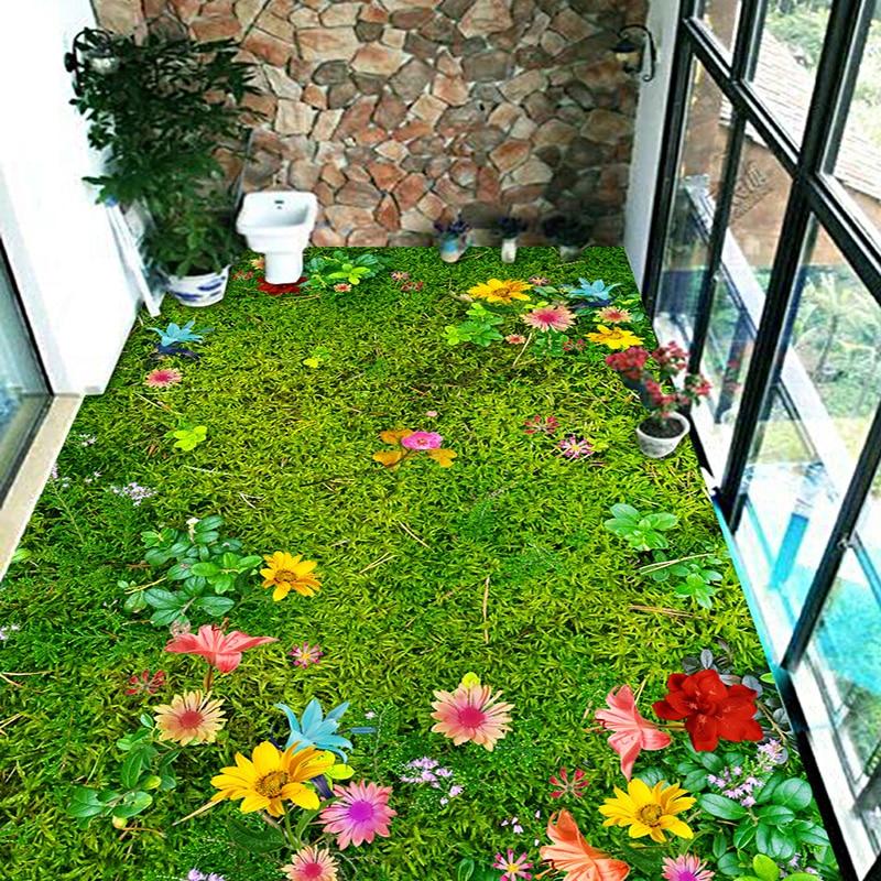 Custom 3D Floor Murals Flowers Grass Lawn Living Room Bedroom Balcony Waterproof Self-adhesive Floor Decor Mural PVC Wallpaper
