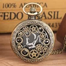 YISUYA Bronz Kuvars FOB İzle Nefis Hollow Out Dişli Tasarım Temizle cep saati Benzersiz Siyah Dial doğum günü hediyesi cep saati