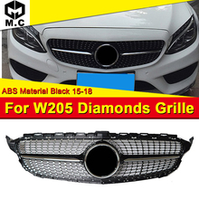 Fits For MercedesMB W205 Sports Diamond grille grill ABS black Without Sign C class C180 C200 C250 C63 look Front grills 2015-18